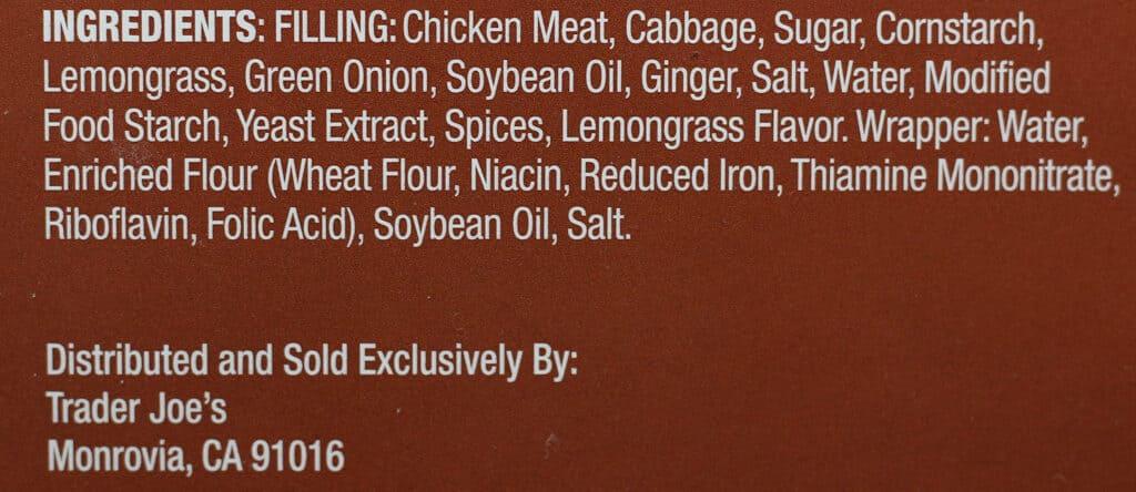 Trader Joe's Lemongrass Chicken Stix ingredient list