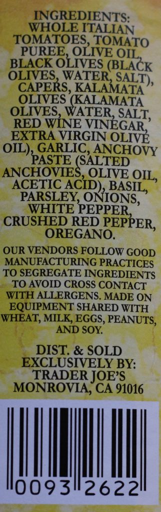 Trader Joe's Puttanesca Sauce ingredients