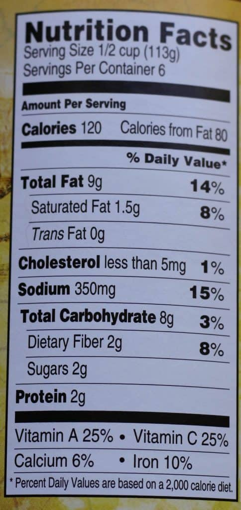 Trader Joe's Puttanesca Sauce nutritional information