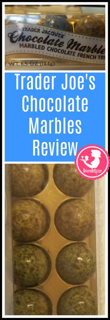 Trader Joe's Chocolate Marbles review. Want to know if this is something worth putting on your shopping list from Trader Joe's? All pins link to BecomeBetty.com where you can find reviews, pictures, thoughts, calorie counts, nutritional information, how to prepare, allergy information, and price.