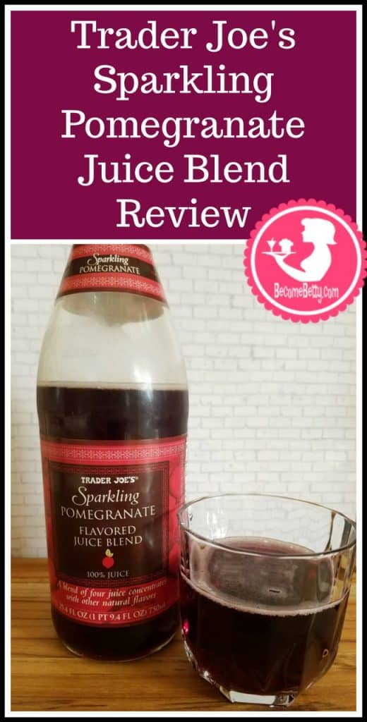 Trader Joe's Sparkling Pomegranate Flavored Juice Blend review. Want to know if this is something worth putting on your shopping list from Trader Joe's? All pins link to BecomeBetty.com where you can find reviews, pictures, thoughts, calorie counts, nutritional information, how to prepare, allergy information, and price.