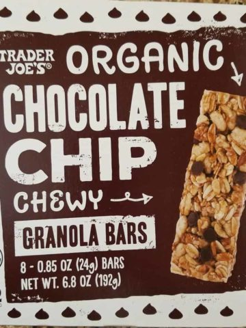 An unopened box of Trader Joe's Organic Chocolate Chip Granola Bars