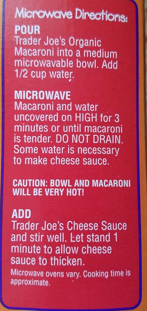 ader Joe's Microwavable Mac and Cheese