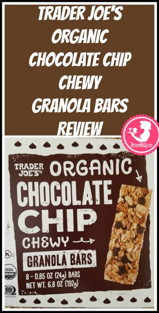 Trader Joe's Organic Chocolate Chip Granola Bars review. Want to know if this is something worth putting on your shopping list from Trader Joe's? All pins link to BecomeBetty.com where you can find reviews, pictures, thoughts, calorie counts, nutritional information, how to prepare, allergy information, price, and how to prepare each product.