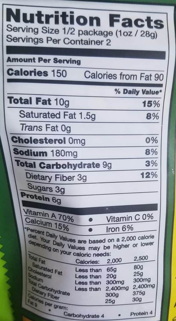Trader Joes Nacho Kale Chips Nutritional Information