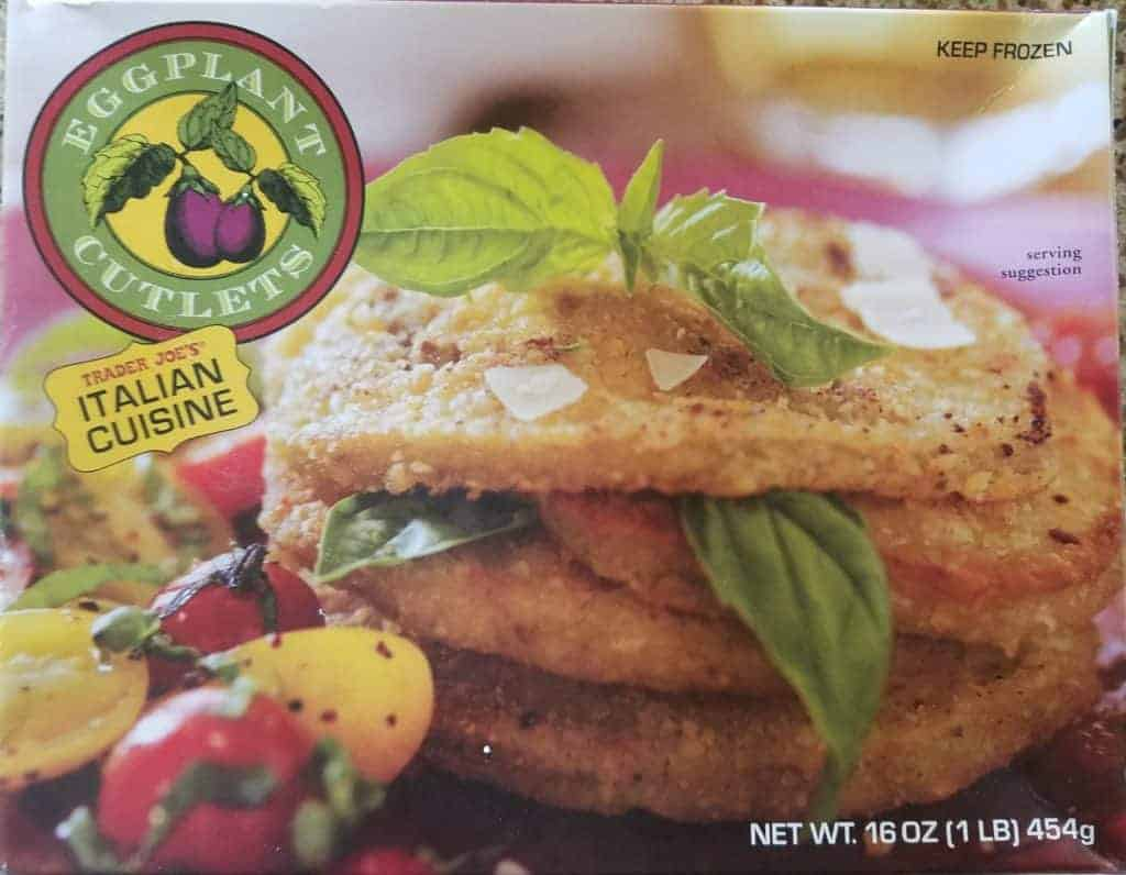 An unopened box of Trader Joe's Eggplant Cutlets