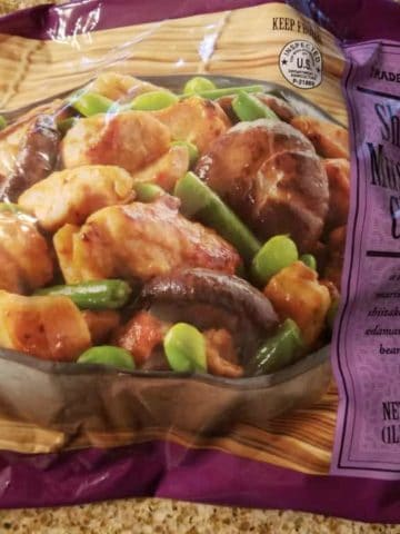 An unopened bag of Trader Joe's Shiitake Mushroom Chicken