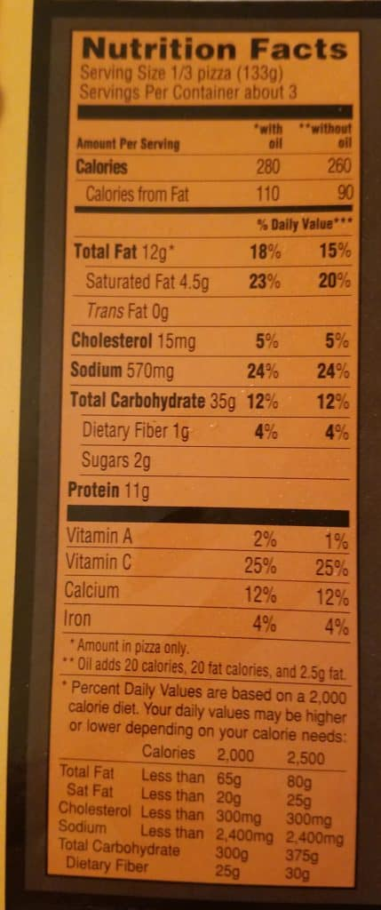 Trader Joe's Organic Sicilian Style Pizza Nutritional Information