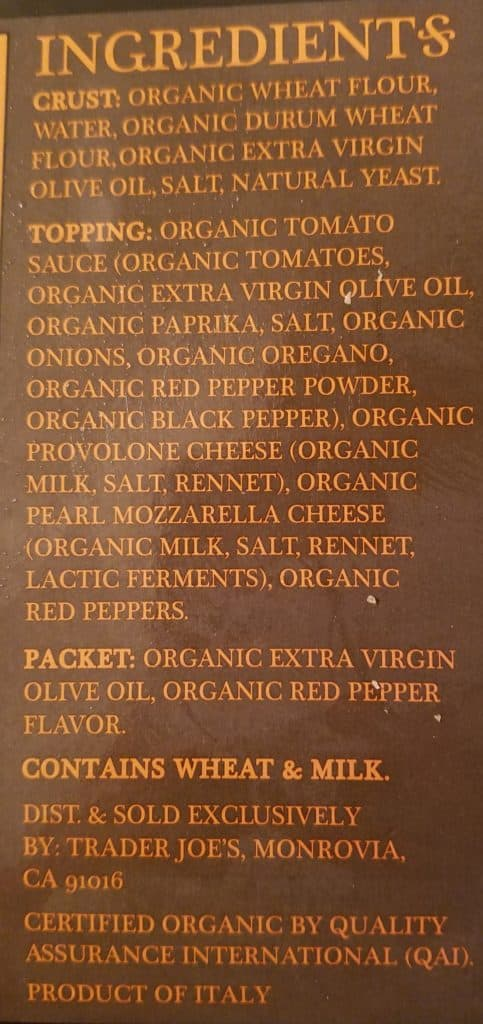Trader Joe's Organic Sicilian Style Pizza Ingredients