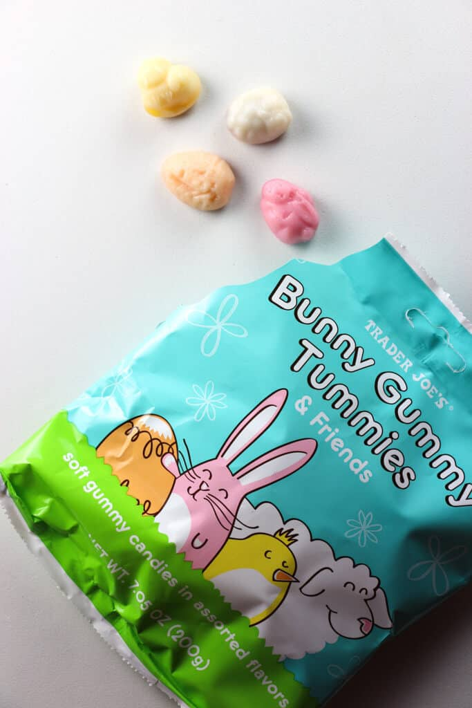 An open package of Trader Joe's Bunny Gummy Tummies showing the four different gummies