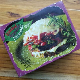 An unopened box of Trader Joe's Stacked Eggplant Parmesan