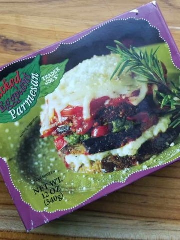 An unopened box of Trader Joe's Stacked Eggplant Parmesan