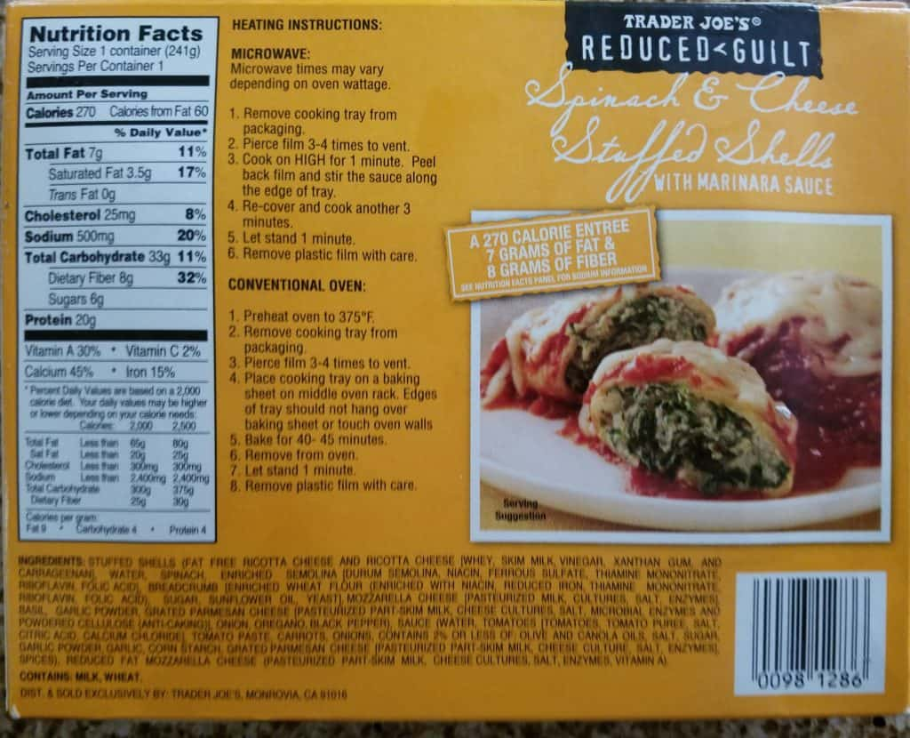 Trader Joe's Reduced Guilt Stuffed Shells ingredients, how to prepare and nutritional information