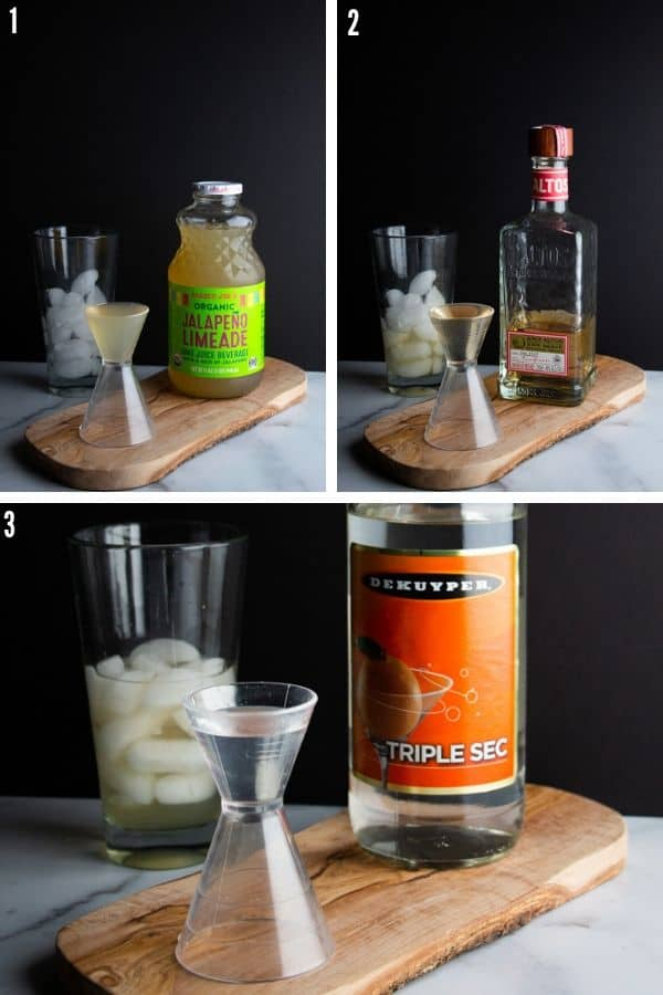 Step 1 collage showing the three ingredients being added to a cocktail shaker