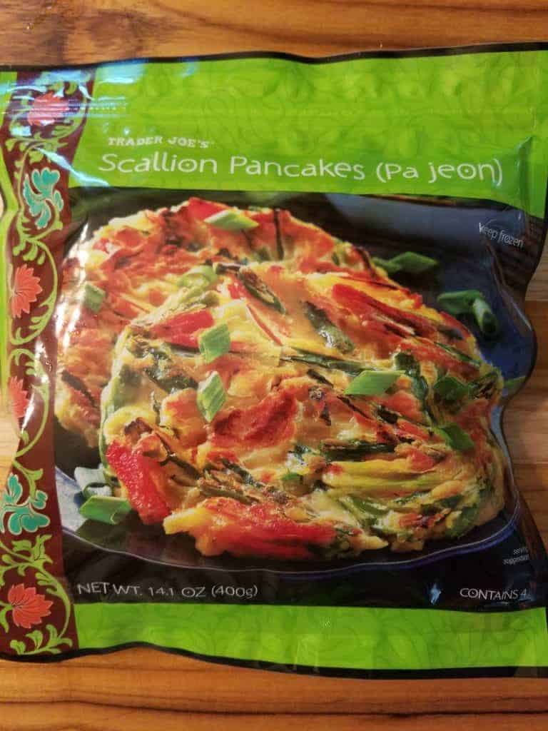 An unopened box of Trader Joe's Scallion Pancakes