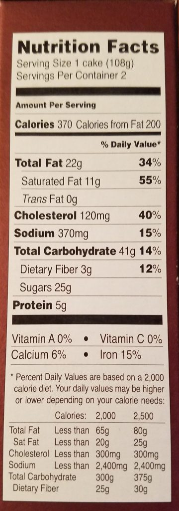 Nutritional facts and calories in Trader Joe's Chocolate Lava Cakes