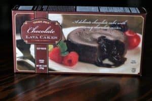 An unopened box of Trader Joe's Chocolate Lava Cakes