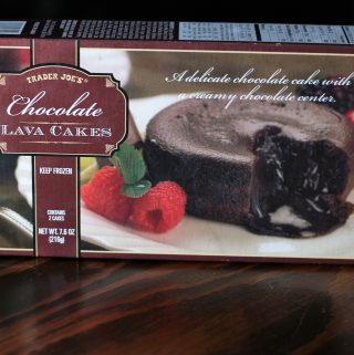 An unopened box of Trader Joe's Chocolate Lava Cakes
