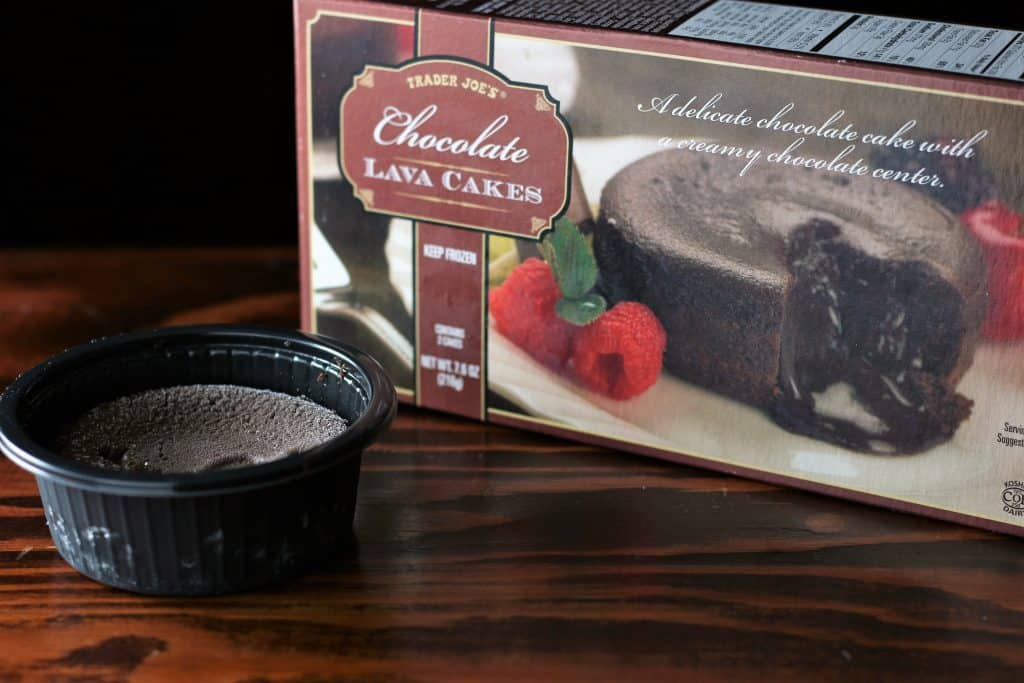 Trader Joe's Chocolate Lava Cakes box and one of the desserts removed from it