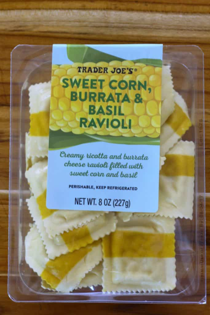 Trader Joe's Sweet Corn, Burrata and Basil Ravioli