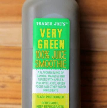An unopened bottle of Trader Joe's Very Green Smoothie