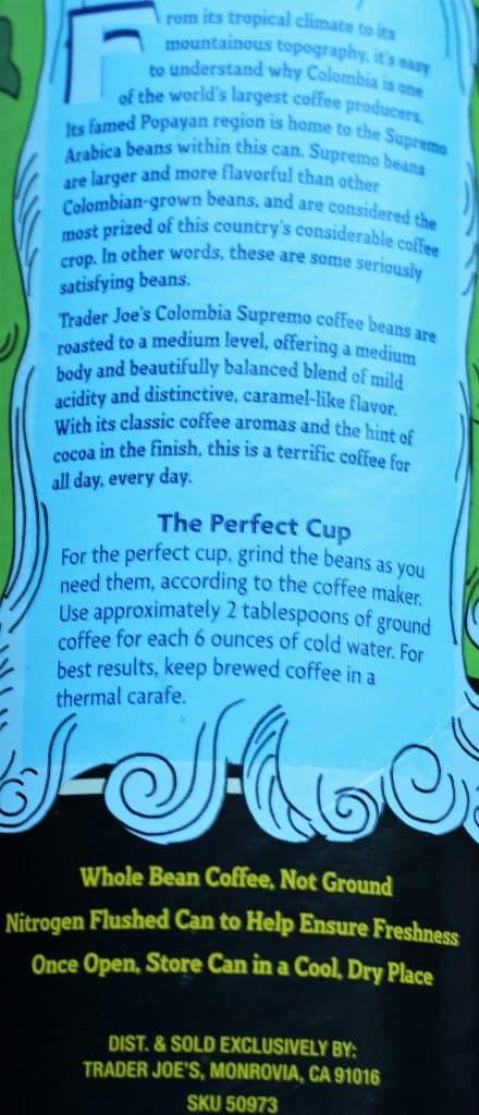 Trader Joe's Colombia Supremo Coffee