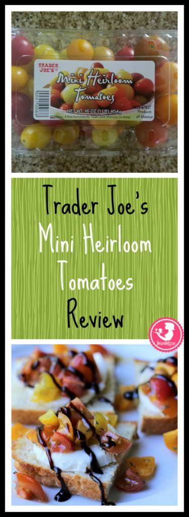 Trader Joe's Mini Heirloom Tomatoes Review. Want to know if this is something worth buying from Trader Joe's? All pins link to BecomeBetty.com where you can find reviews, pictures, thoughts, calorie counts, nutritional information, how to prepare, allergy information, price, and how to prepare each product.
