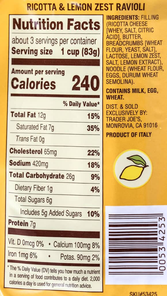 Trader Joe's Ricotta and Lemon Zest Ravioli calories, nutritional information, and ingredient list as well as allergy information