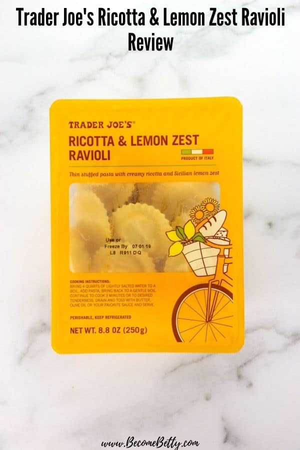 An unopened package of Trader Joe's Ricotta and Lemon Zest Ravioli on a marble surface for Pinning on Pinterest