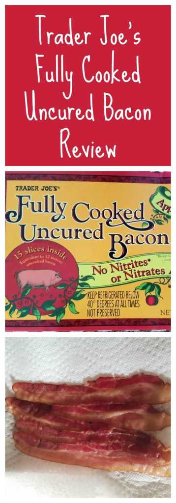 Trader Joes Fully Cooked Uncured Bacon review.   Want to know if this is something worth buying from Trader Joe's? All pins link to BecomeBetty.com where you can find reviews, pictures, thoughts, calorie counts, nutritional information, how to prepare, allergy information, and how to prepare each product.