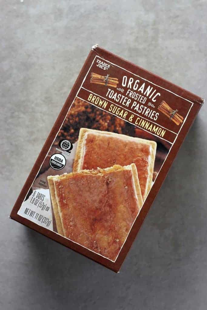 Trader Joe's Organic Frosted Brown Sugar and Cinnamon Toaster Pastries on a grey surface