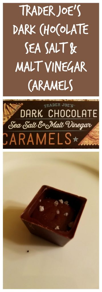 Trader Joes Dark Chocolate Sea Salt and Malt Vinegar Caramels Review. Want to know if this is something worth buying from Trader Joe's? All pins link to BecomeBetty.com where you can find reviews, pictures, thoughts, calorie counts, nutritional information, how to prepare, allergy information, and how to prepare each product.