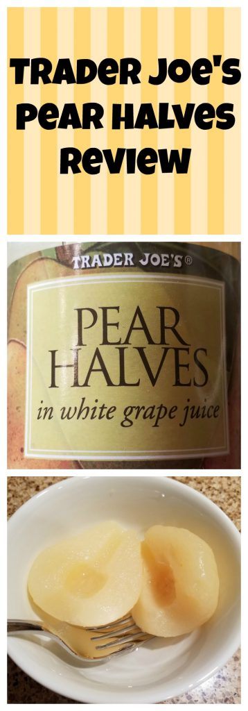 Trader Joes Pear Halves Review.  Want to know if this is something worth buying from Trader Joe's? All pins link to BecomeBetty.com where you can find reviews, pictures, thoughts, calorie counts, nutritional information, how to prepare, allergy information, and how to prepare each product.