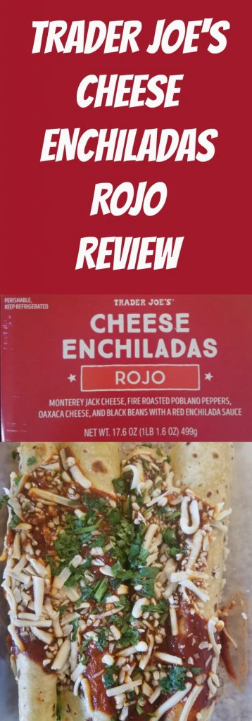 Trader Joes Cheese Enchilada Rojo review. Want to know if this is something worth buying from Trader Joe's? All pins link to BecomeBetty.com where you can find reviews, pictures, thoughts, calorie counts, nutritional information, how to prepare, allergy information, and how to prepare each product.