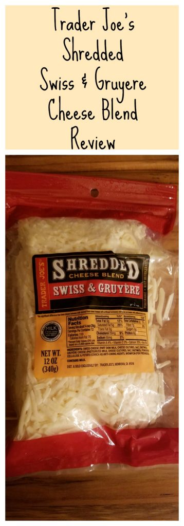 Trader Joes Shredded Swiss and Gruyere Cheese Blend review. Want to know if this is something worth buying from Trader Joe's? All pins link to BecomeBetty.com where you can find reviews, pictures, thoughts, calorie counts, nutritional information, how to prepare, allergy information, and how to prepare each product.