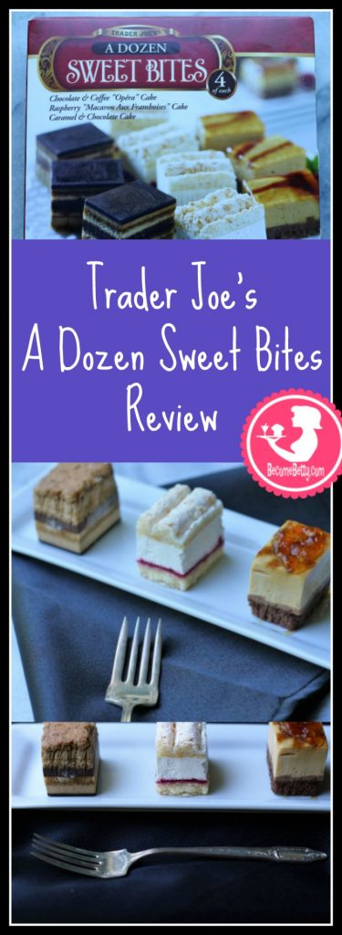 Trader Joes A Dozen Sweet Bites Review of this tasty frozen dessert. Want to know if this is something worth buying from Trader Joe's? All pins link to BecomeBetty.com where you can find reviews, pictures, thoughts, calorie counts, nutritional information, how to prepare, allergy information, and how to prepare each product.