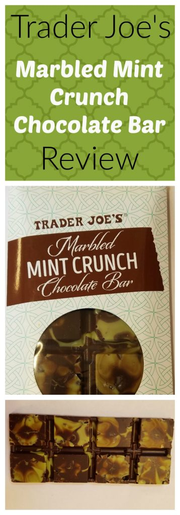 Trader Joes Marbled Mint Crunch Chocolate Bar review. Want to know if this is something worth buying from Trader Joe's? All pins link to BecomeBetty.com where you can find reviews, pictures, thoughts, calorie counts, nutritional information, how to prepare, allergy information, and how to prepare each product.
