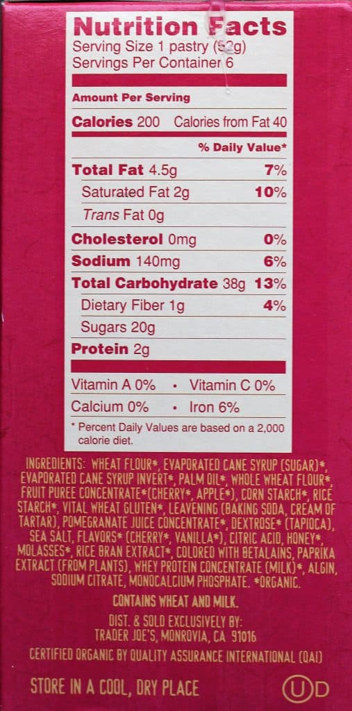 Trader Joe's Organic Frosted Cherry Pomegranate Toaster Pastries nutritional facts and ingredients