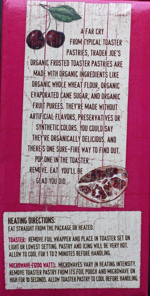 Trader Joe's Organic Frosted Cherry Pomegranate Toaster Pastries description and heating directions