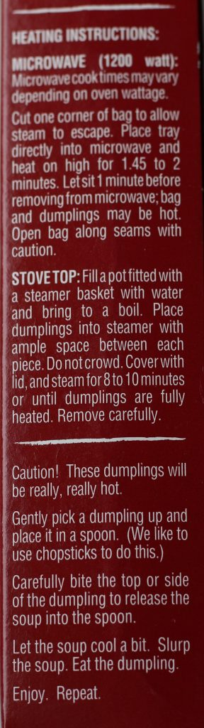 Cooking instructions for Trader Joe's Steamed Chicken Soup Dumplings