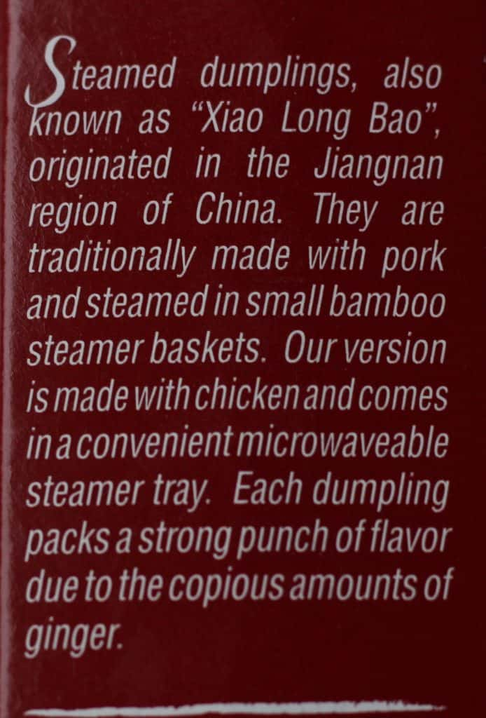 The description of Trader Joe's Steamed Chicken Soup Dumplings on the side of the package