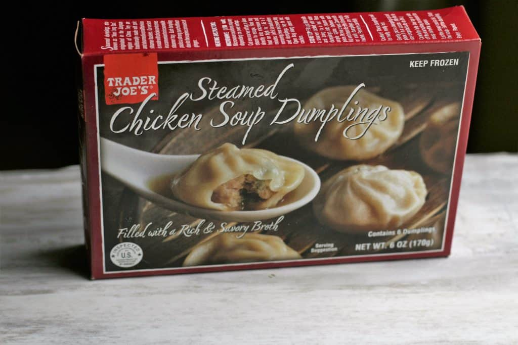 An unopened box of Trader Joe's Steamed Chicken Soup Dumplings