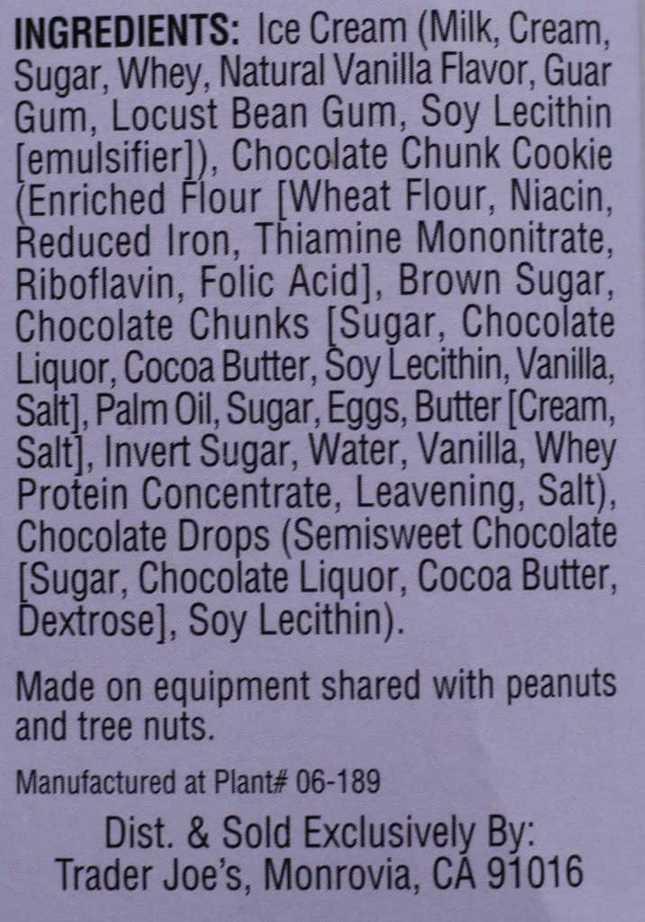 Trader Joe's Sublime Ice Cream Sanwiches ingredients