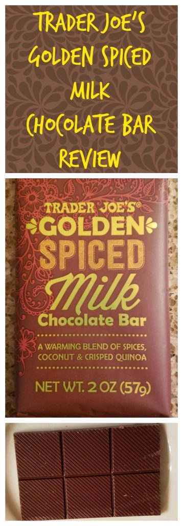 Trader Joes Golden Spiced Milk Chocolate Bar review.  Want to know if this is something worth buying from Trader Joe's? All pins link to BecomeBetty.com where you can find reviews, pictures, thoughts, calorie counts, nutritional information, how to prepare, allergy information, and how to prepare each product.