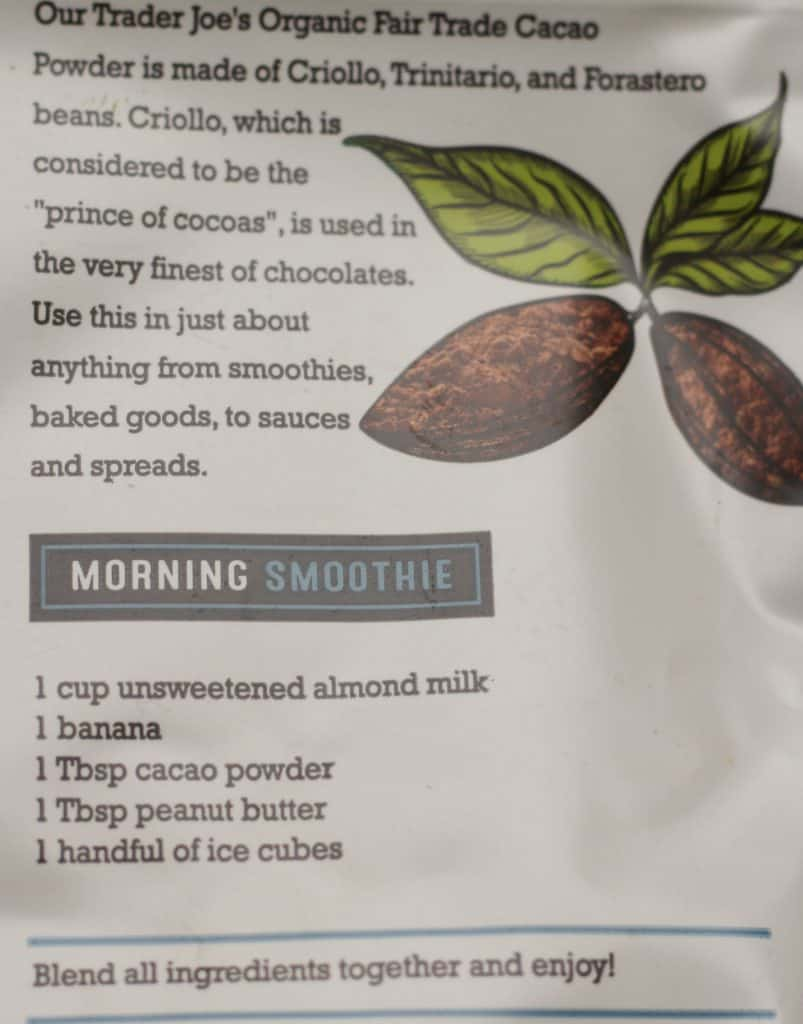 Trader Joe's Organic Fair Trade Cacao Powder