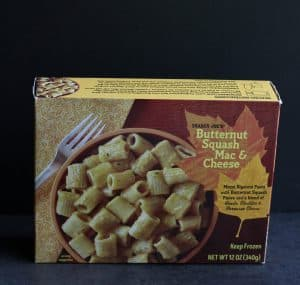 An unopened box of Trader Joe's Butternut Squash Mac and Cheese