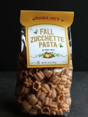 An unopened bag of Trader Joe's Fall Zucchette Pasta