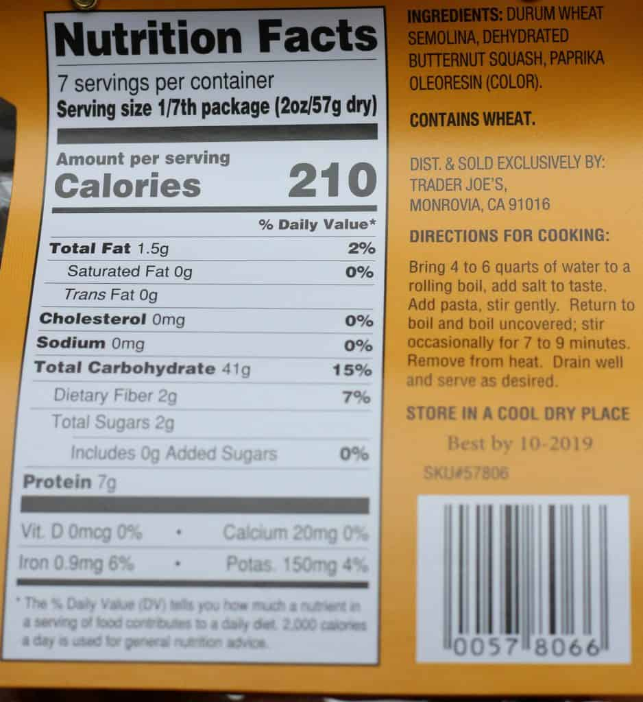 Nutritional information, ingredients and cooking directions for Trader Joe's Fall Zucchette Pasta