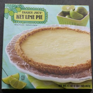 An unopened box of Trader Joe's Key Lime Pie