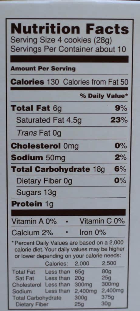 Trader Joe's Petite Pumpkin Spice Cookies nutritional facts